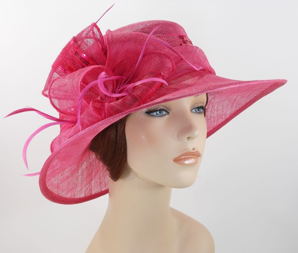 New woman kentucky church derby wedding sinamay ascot for Dress hats for weddings