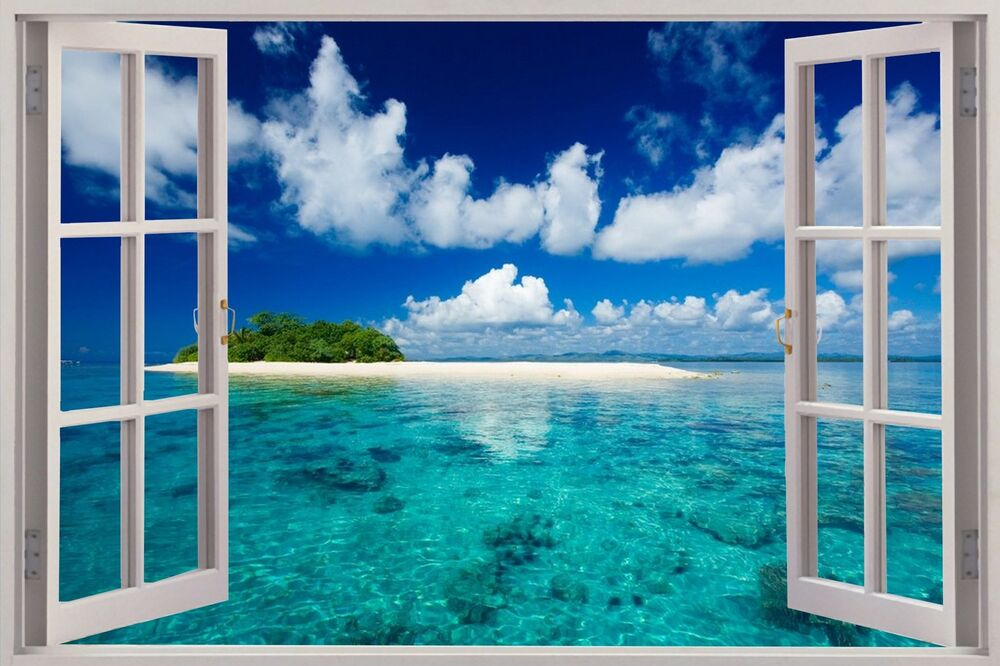 Huge 3d window view exotic beach wall sticker film mural for Mural film
