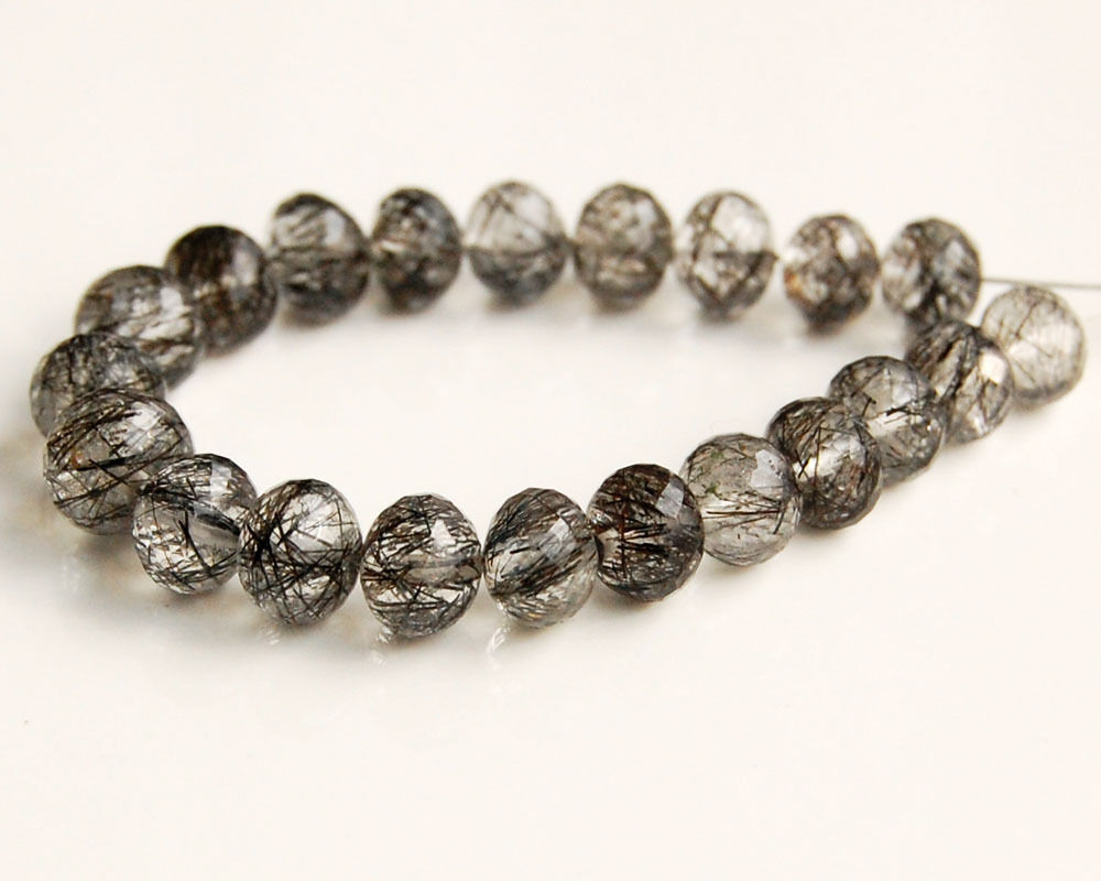 AAA Natural Black Rutilated Quartz Faceted Rondelle ... - photo #23