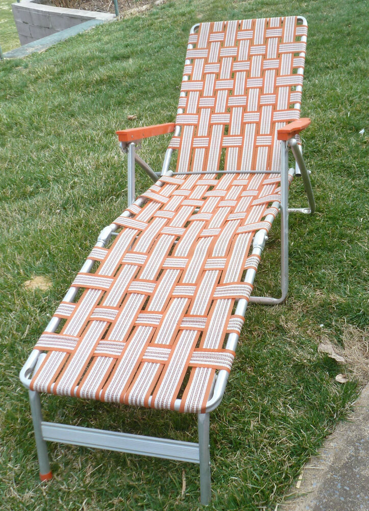 Vintage aluminum folding webbed lawn chair chaise lounge for Aluminum web chaise lounge