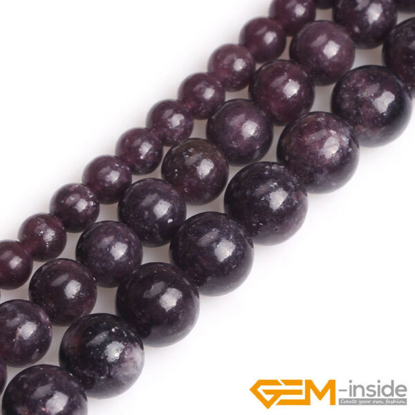 Natural Stone Purple Lepidolite Round Beads For Jewelry Making 15