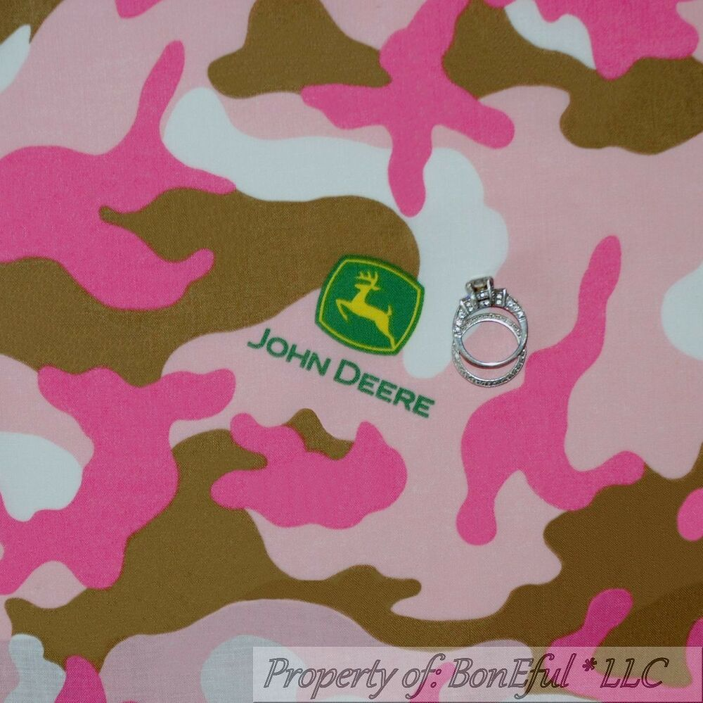 Boneful fabric fq cotton quilt pink brown white john deere for Baby girl fabric