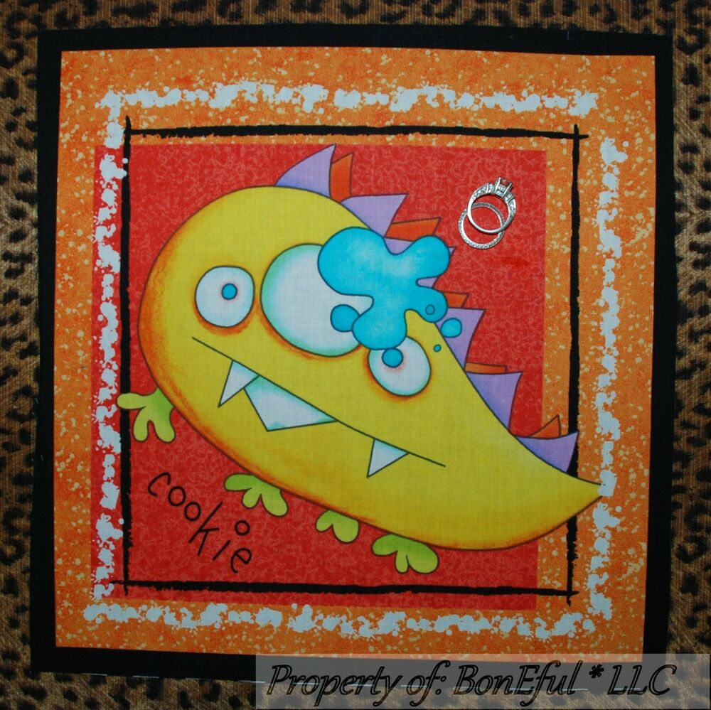 Boneful fabric cotton quilt block cookie monster baby boy for Baby monster fabric