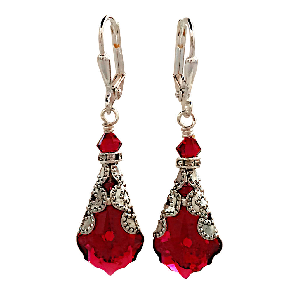 ruby red baroque vintage filigree earrings with crystal. Black Bedroom Furniture Sets. Home Design Ideas