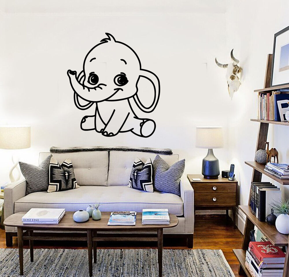Wall Stickers Vinyl Decal Baby Elephant Animal Kids Room