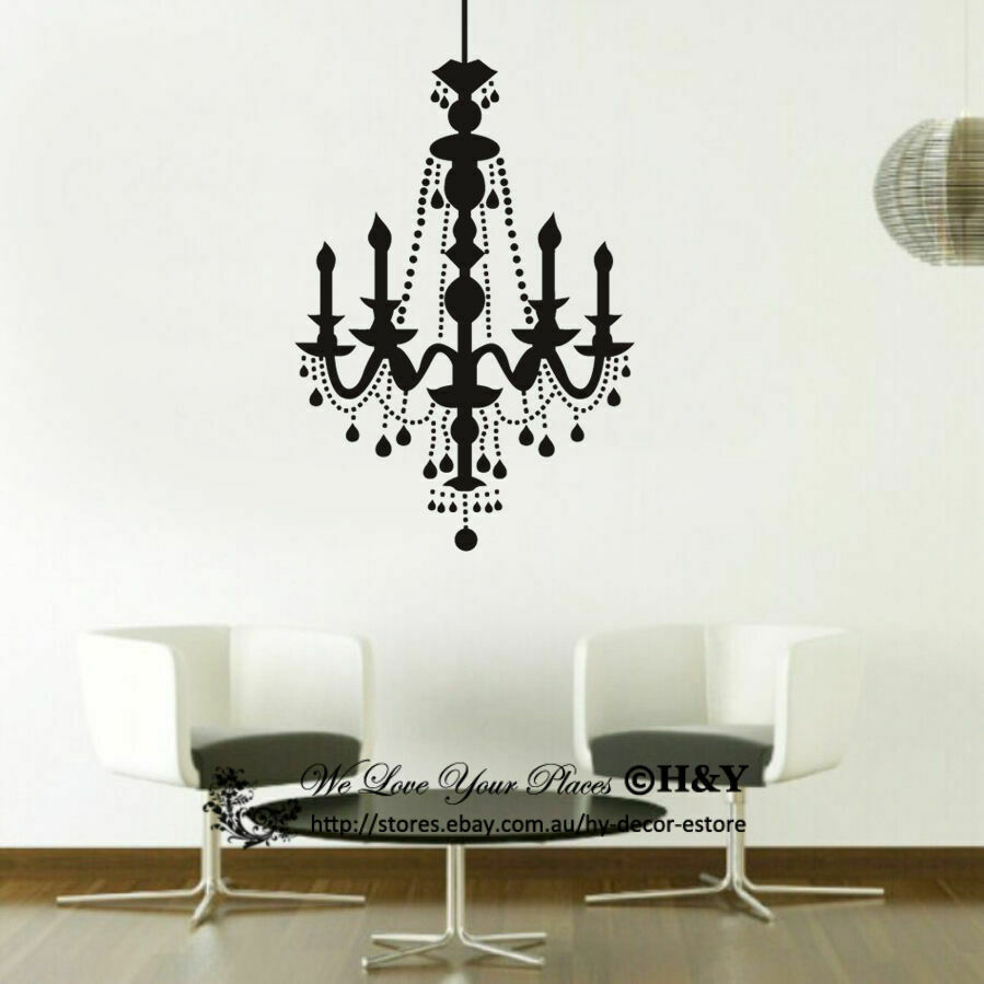 Candle chandelier removable wall stickers vinyl wall for Decoration mural