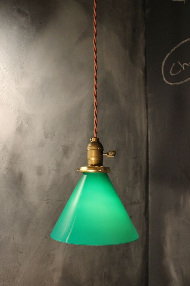 vintage industrial pendant light with green glass lamp