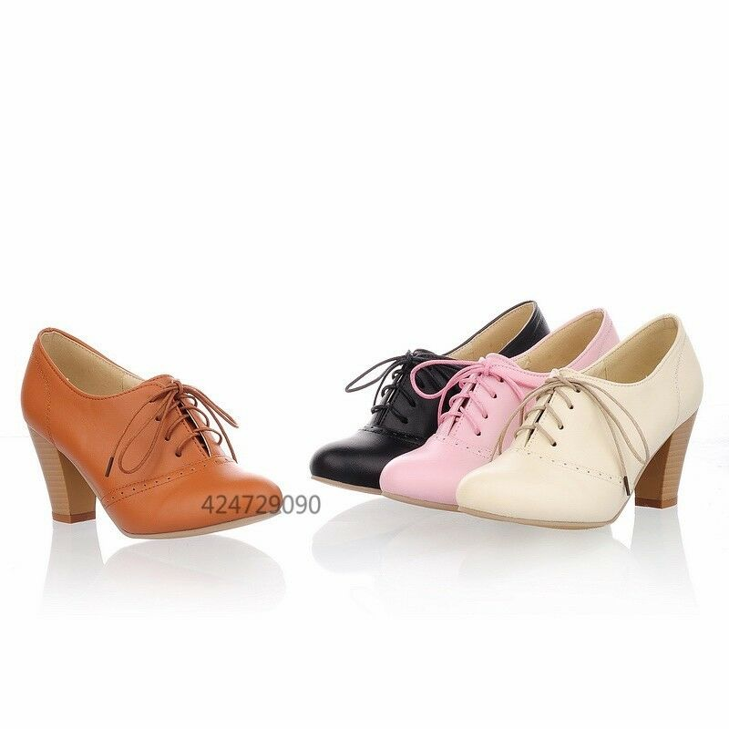 womens pumps high chunky heel oxfords ankle bootie