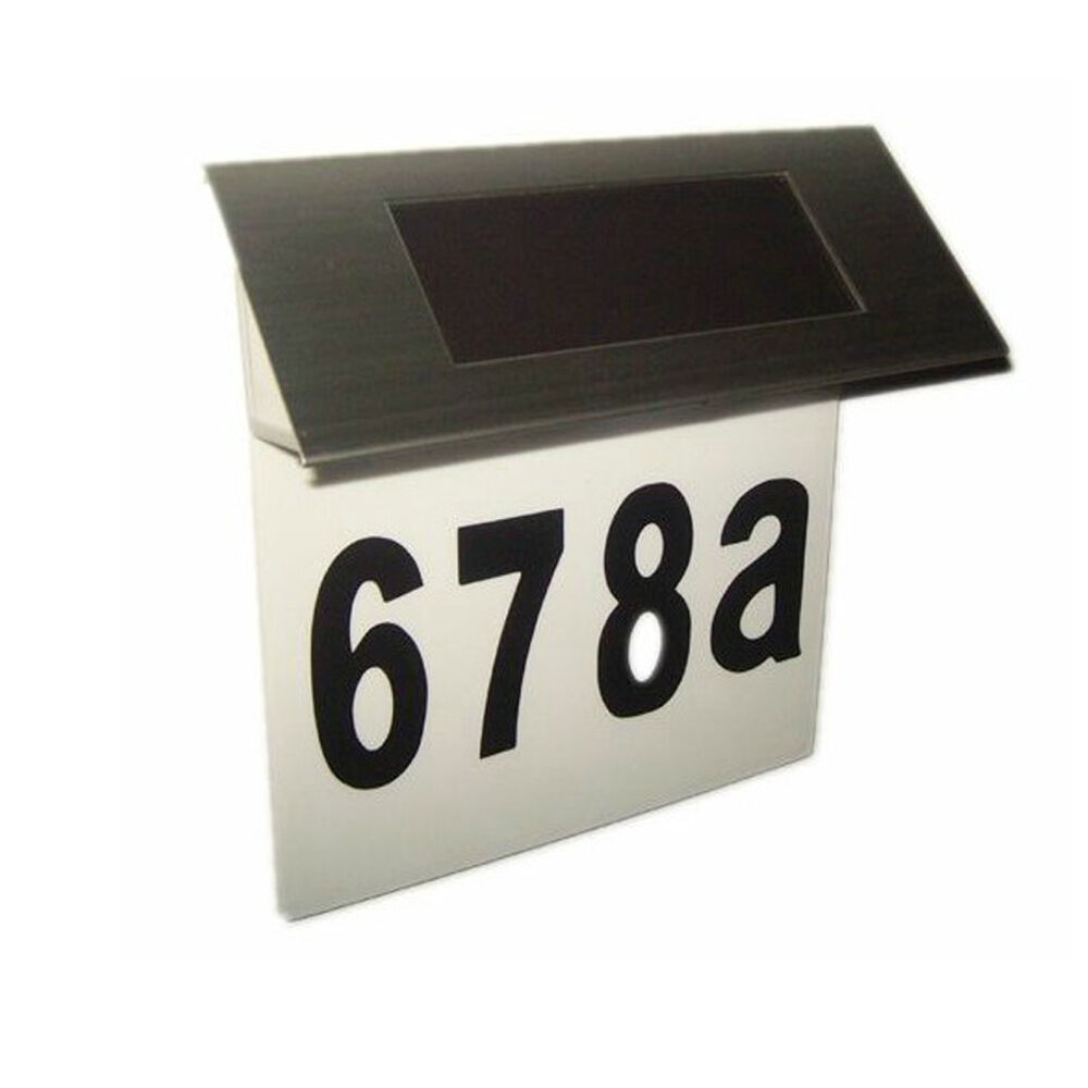 solar powered light stainless steel pannel street road house address wall number ebay. Black Bedroom Furniture Sets. Home Design Ideas