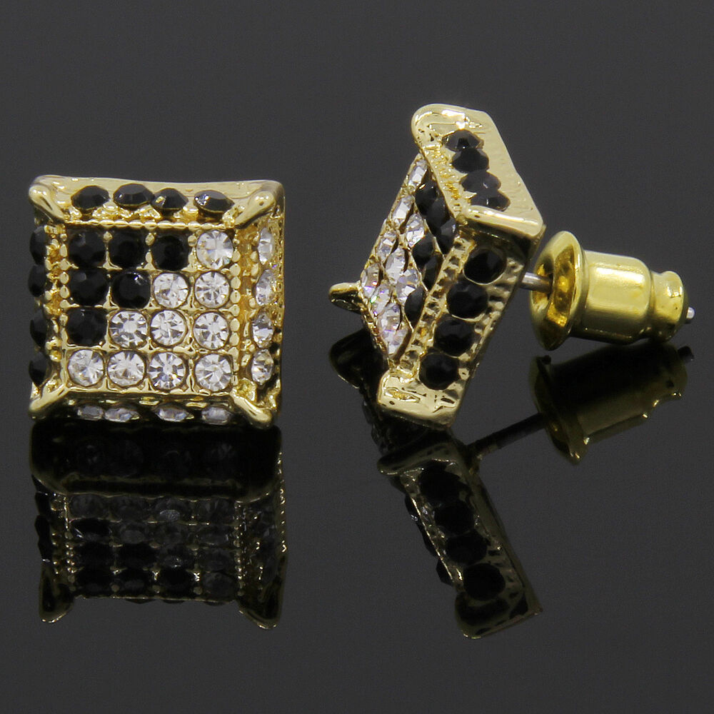 icedout earrings mens gold and black cz cube iced out hip hop micro pave 6883