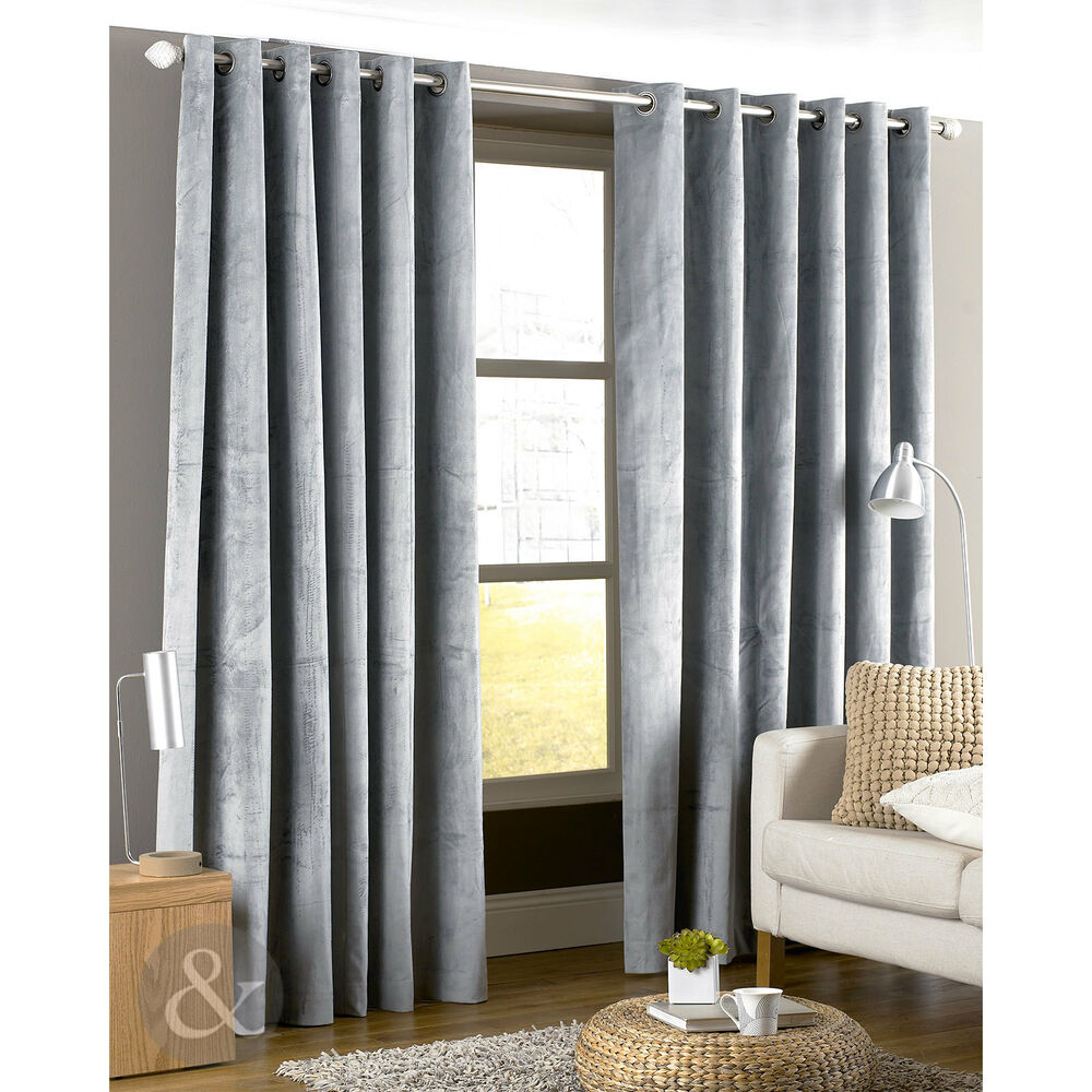 Classic Velvet Eyelet Curtains Sateen Lining Silver Grey