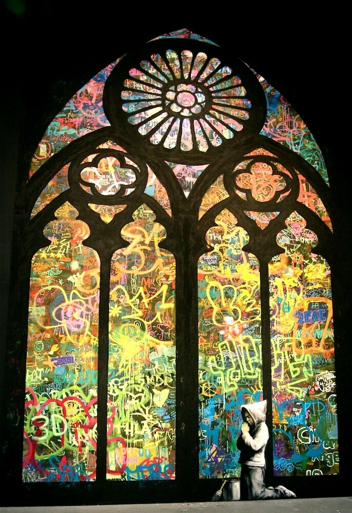 Banksy Stained Glass Graffiti POSTER FRAMED ON CANVAS ...