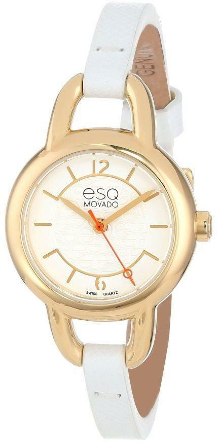 esq by movado status gold tone leather ladies watch. Black Bedroom Furniture Sets. Home Design Ideas