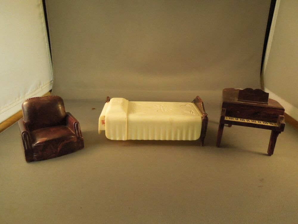 Vintage Ideal Plastic Toy Furniture Bedroom Set 3 Pieces Bed Piano Chair Marbled Ebay