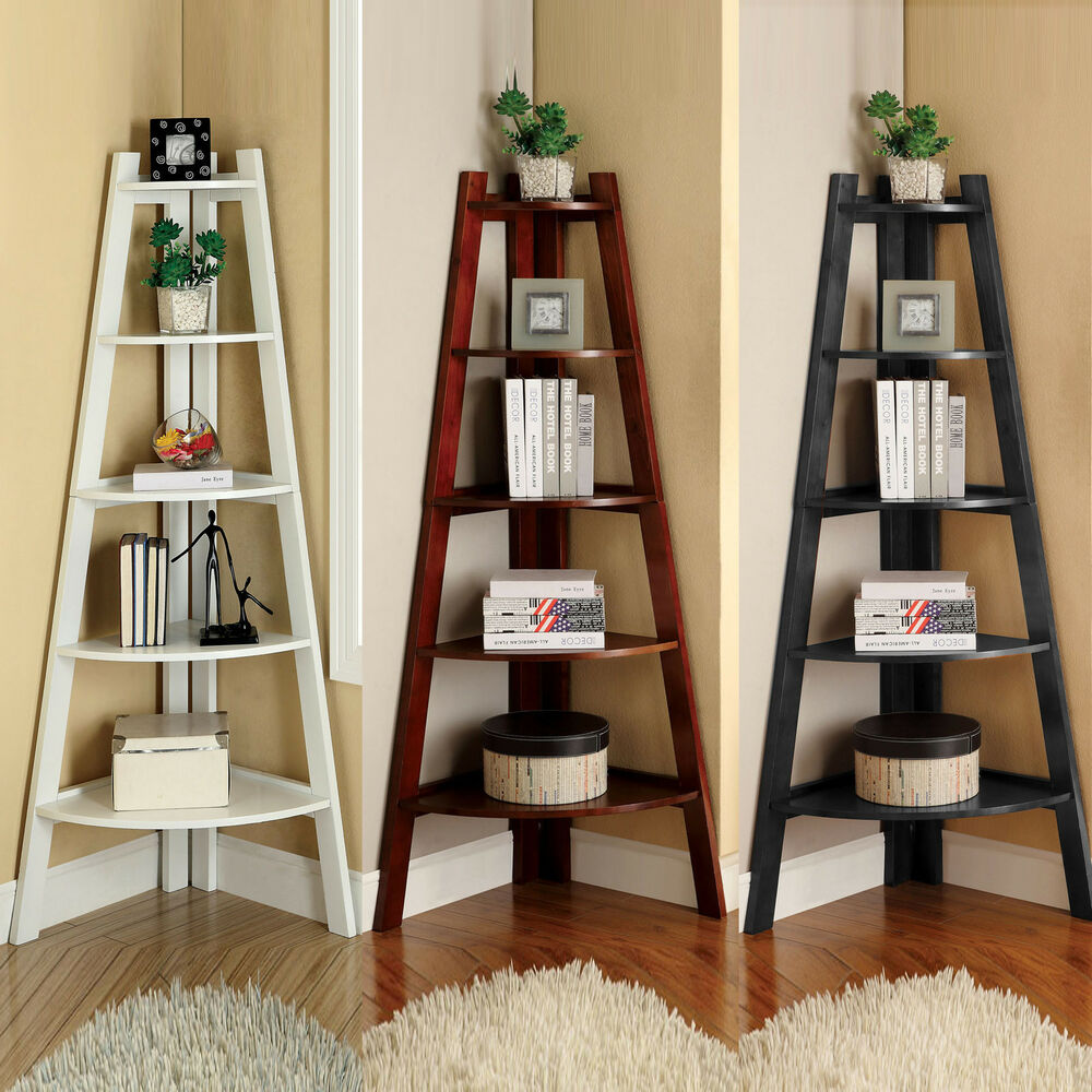White Cherry Black Storage Ladder Shape Bookcase Bookshelf Display Corner  Shelf | eBay
