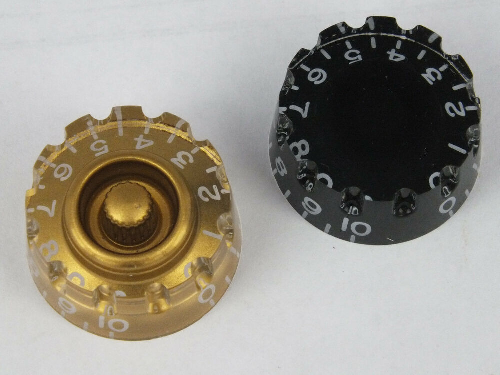 knurled speed dial knobs for gibson epiphone style electric guitars 2 colours ebay. Black Bedroom Furniture Sets. Home Design Ideas