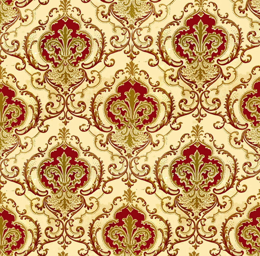 Dolls house wallpaper 1 12th 1 24th scale red quality for House wallpaper paper