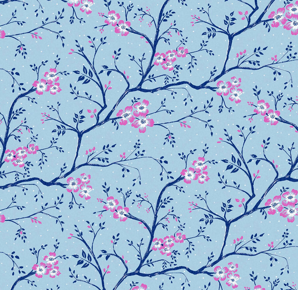 Dolls House Wallpaper 1/12th 1/24th Scale Blue Quality