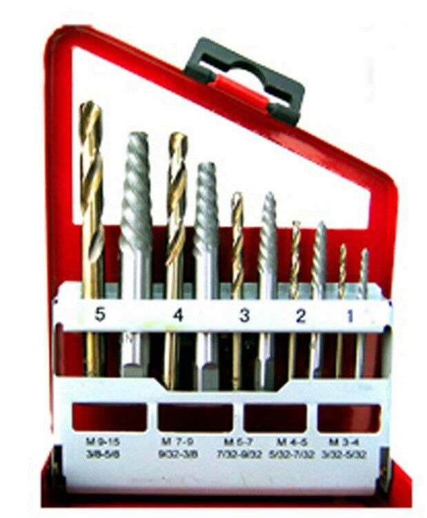 Cobalt Drill Bit Set >> 10pc Screw Extractor Easy Out Set Left Hand Drill Bits ...
