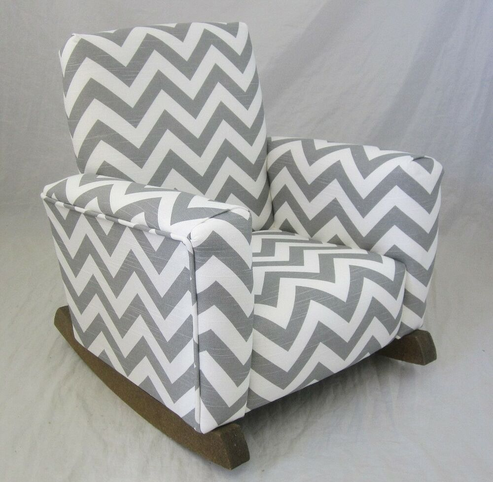 New childrens upholstered rocking chair zig zag chevron for Grey childrens chair
