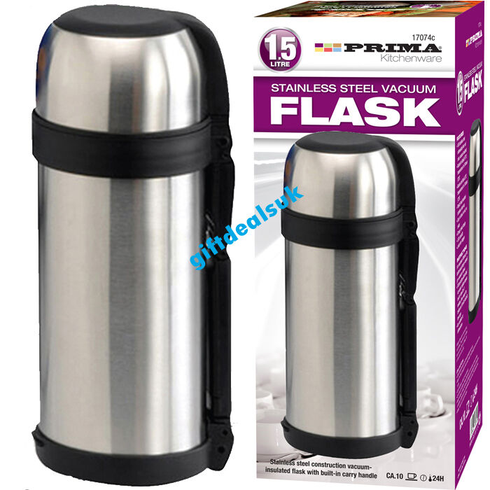 1 5 liter 1500ml hot n cold s s stainless steel vacuum thermos flask bottle cup ebay. Black Bedroom Furniture Sets. Home Design Ideas