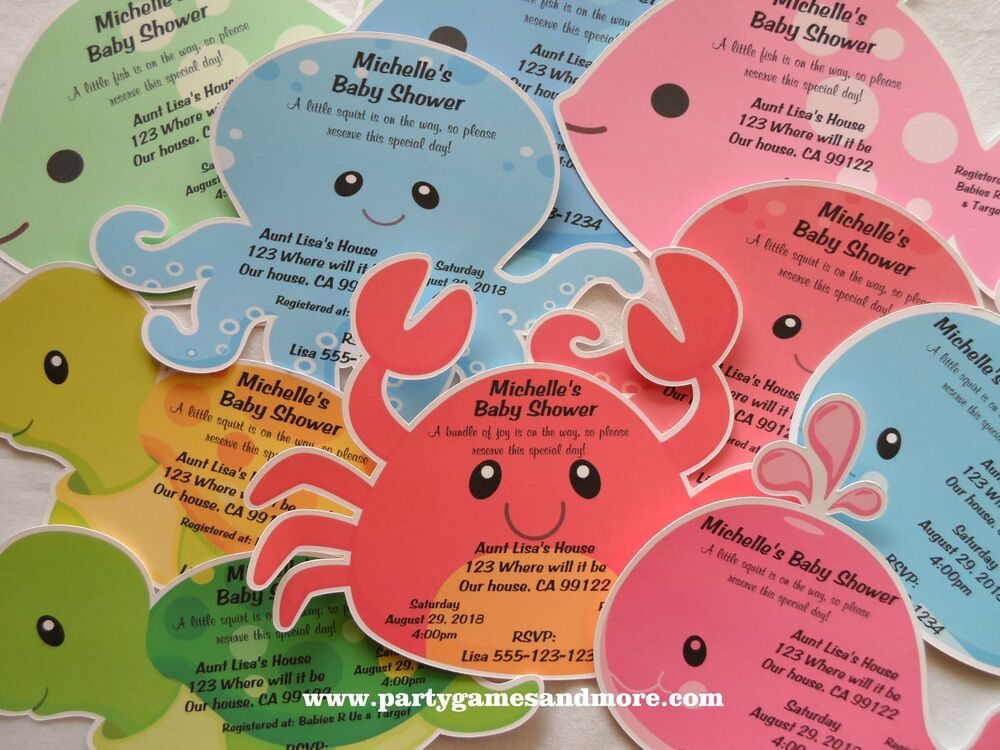 unique personalized under the sea theme invitations baby shower