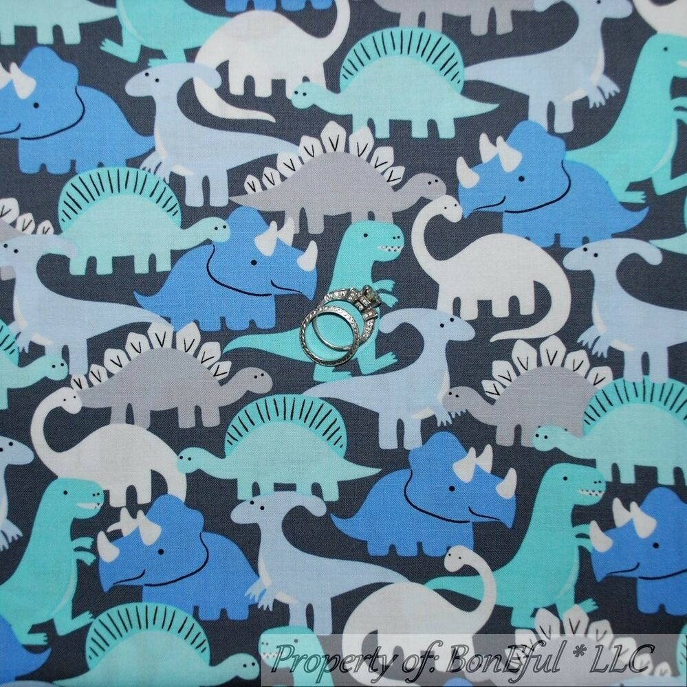 Boneful fabric fq cotton quilt vtg gray blue dinosaur t for Grey dinosaur fabric