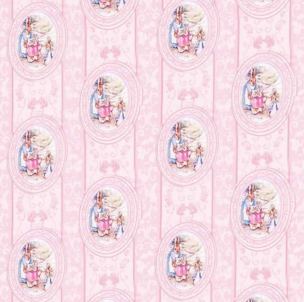 Dolls house wallpaper 1 12th 1 24th scale nursery pink for House wallpaper paper