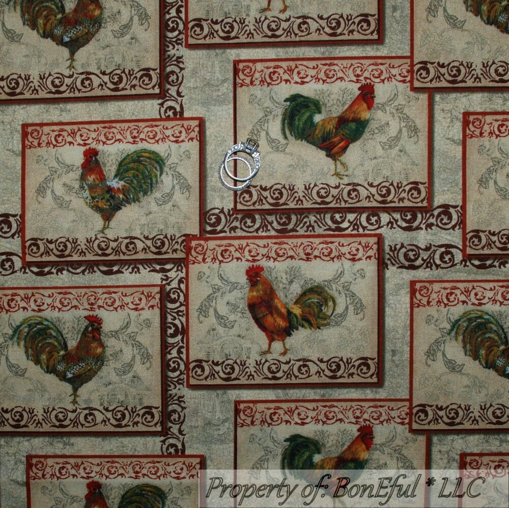 country kitchen fabric boneful fabric fq cotton quilt brown rooster scroll farm l 2793