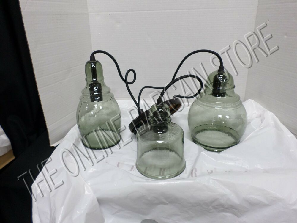 pottery barn pb paxton hand blown glass three 3 light pendant. Black Bedroom Furniture Sets. Home Design Ideas