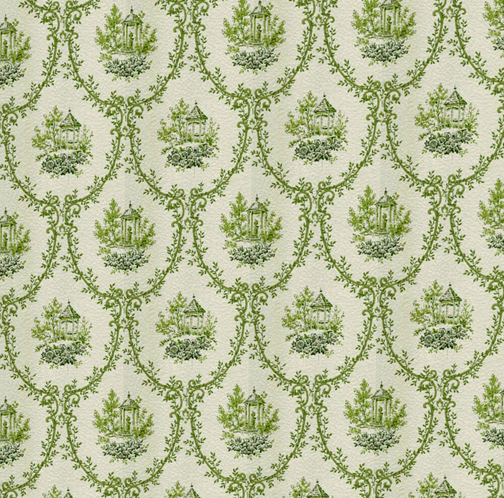 Dolls house wallpaper 1 12th 1 24th scale green quality for House wallpaper paper