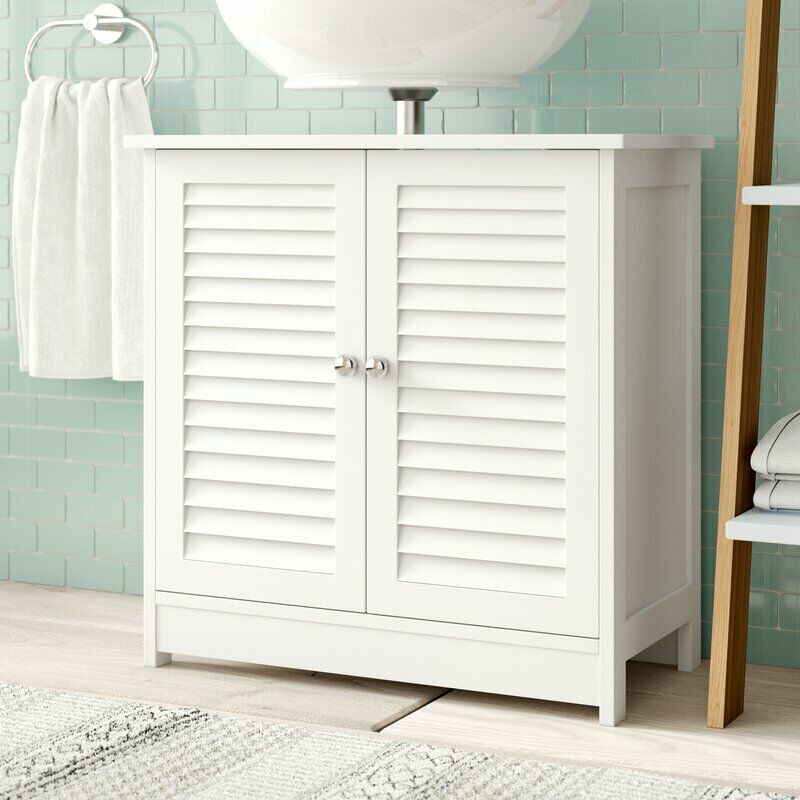 White wooden under sink bathroom storage cabinet br108 ebay - Under sink bathroom storage cabinet ...