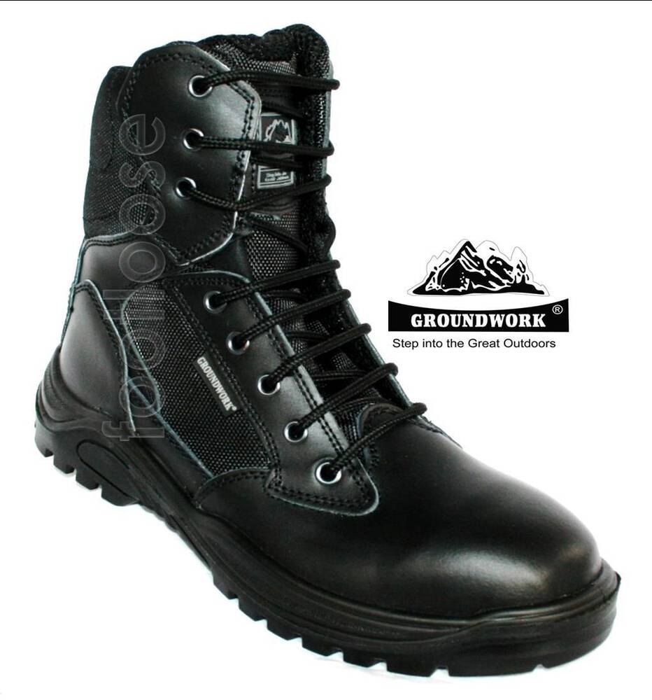 MENS BLACK LEATHER LACE UP POLICE/ARMY BOOT WITH PADDED ...