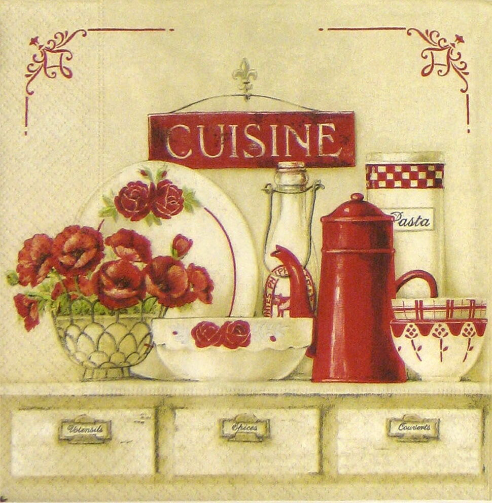 4x shabby cuisine paper napkins for decoupage craft vintage ebay - Poster per cucina ...