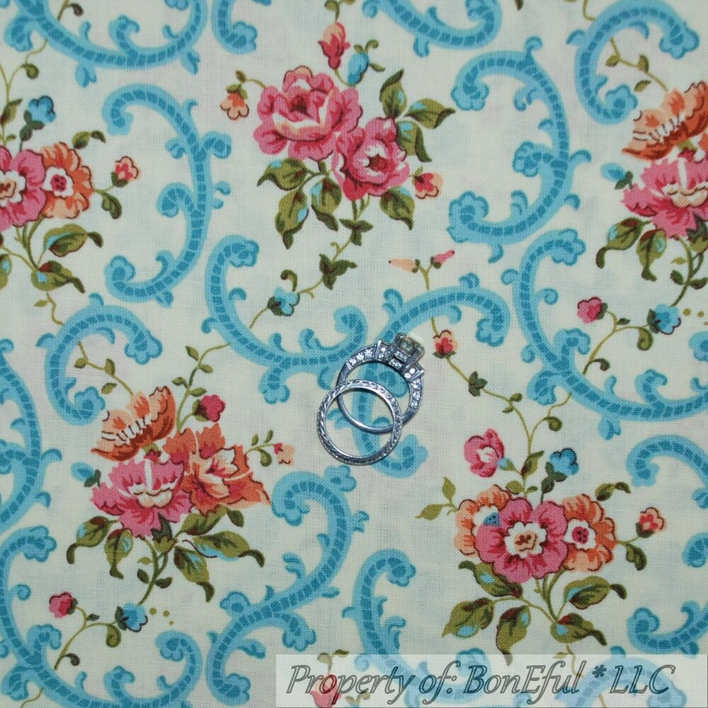 Boneful fabric fq cotton quilt cream blue pink shabby chic for Victorian floral fabric