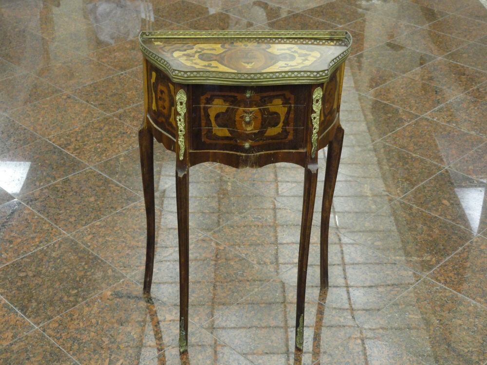 Antique continental elaborate wood inlaid occasional side
