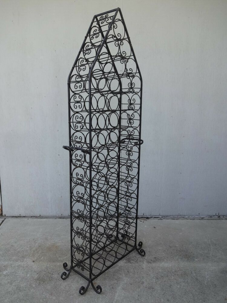 Vintage hollywood regency spanish gothic wrought iron wine rack cellar storage ebay - Wine racks wrought iron floor standing ...
