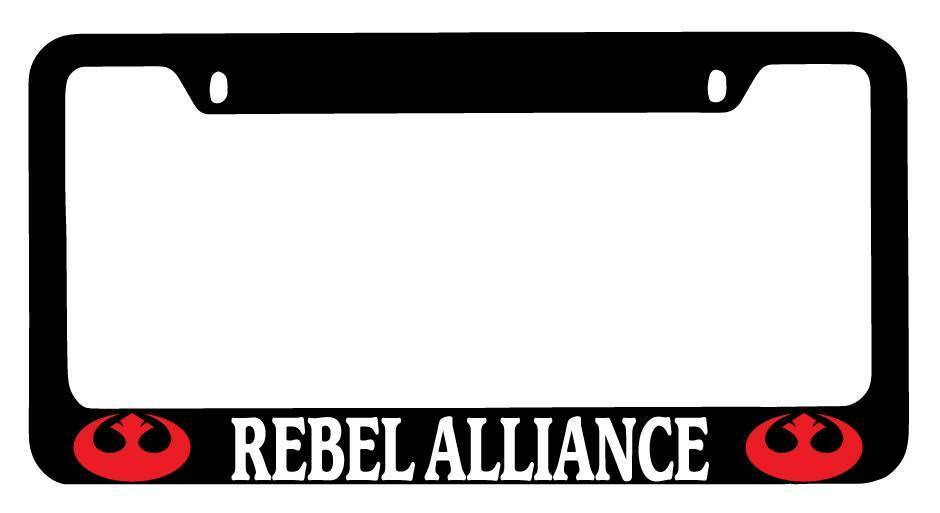 Black METAL License Plate Frame Rebel Alliance LOGO RED