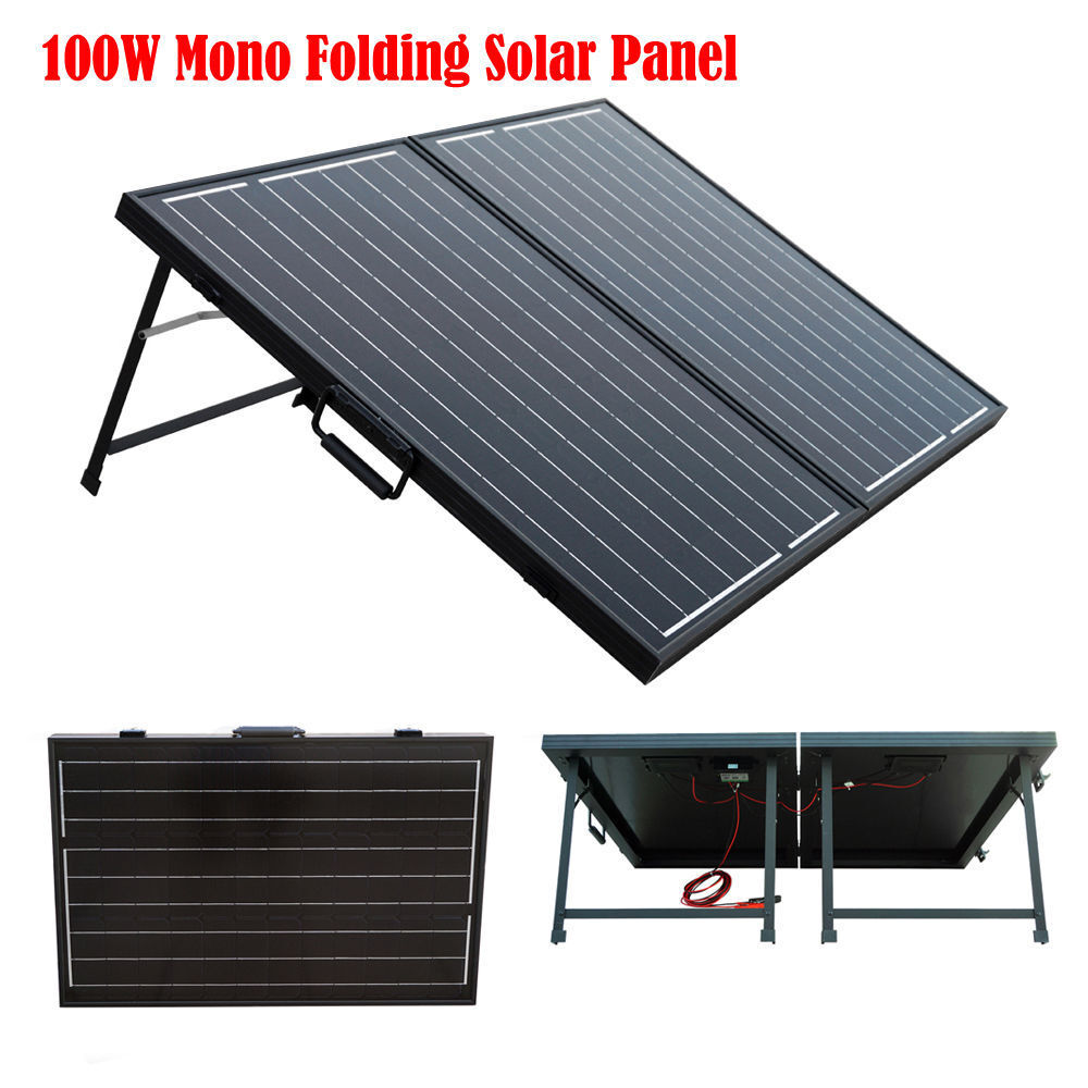 Portable Rv Solar Systems : Portable complet kit w suitcase folding solar panel v