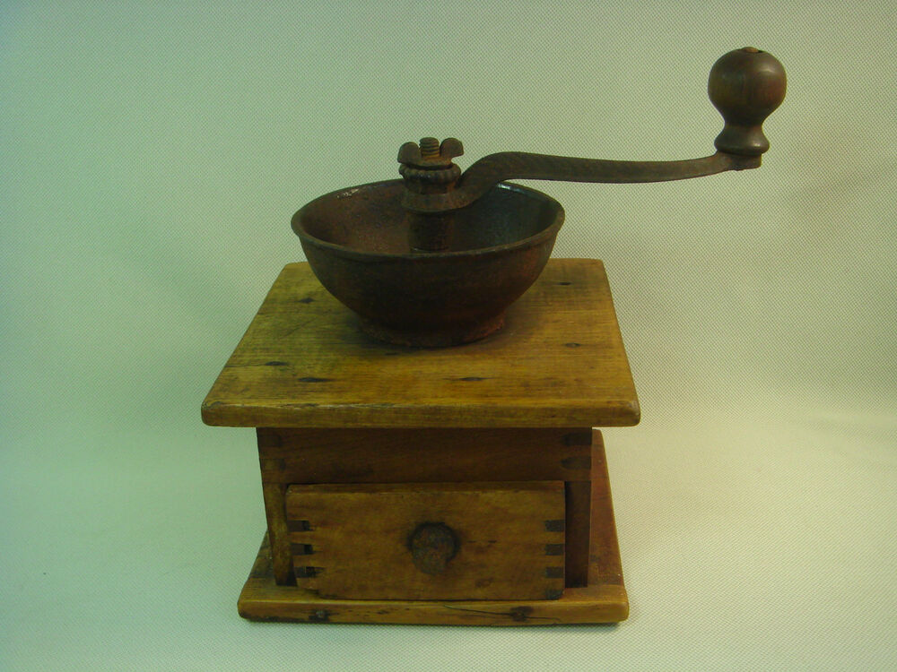 Old Coffee Grinders ~ Antique vintage old coffee beans grinder working wood