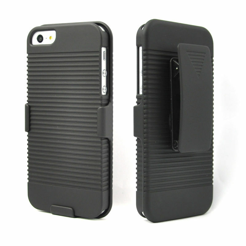 iphone 5 case with clip black ribbed amp belt clip holster w kickstand 5947