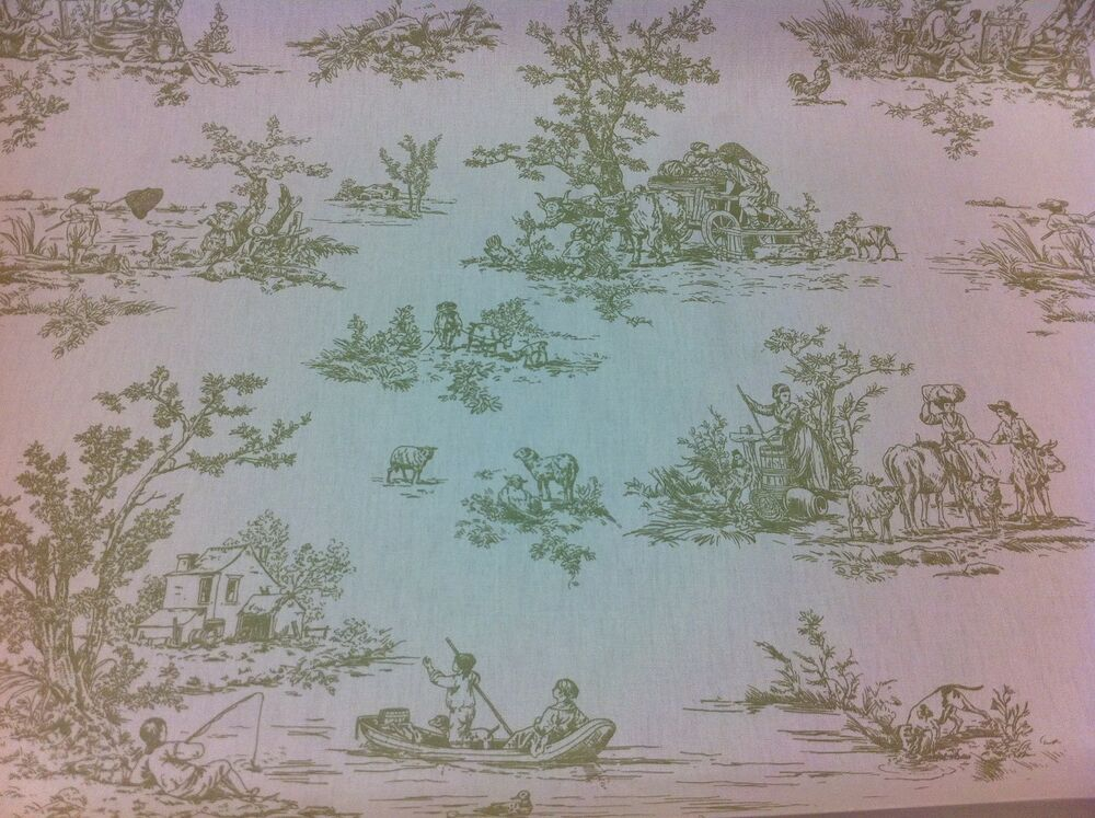fryett s provence toile de jouy olive green cotton fabric curtain upholstery ebay. Black Bedroom Furniture Sets. Home Design Ideas