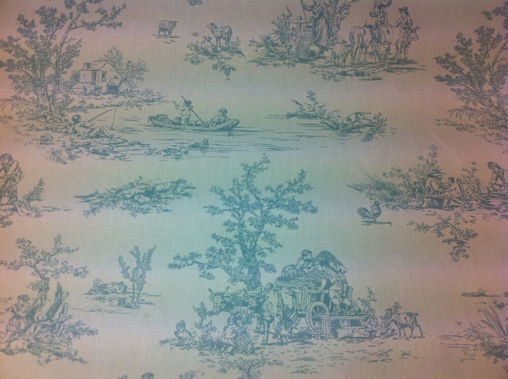 fryett s provence toile de jouy eggshell blue cotton fabric curtain upholstery ebay. Black Bedroom Furniture Sets. Home Design Ideas