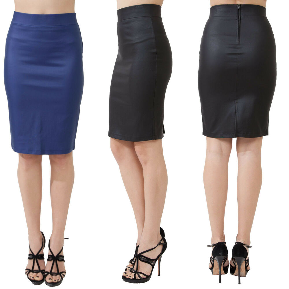 knee length pencil skirt wear to work solid black or blue