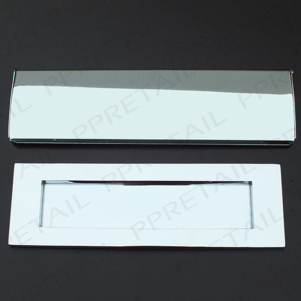 Front Door Letterbox: MODERN CHROME LETTERBOX PLATES INTERNAL/EXTERNAL Main