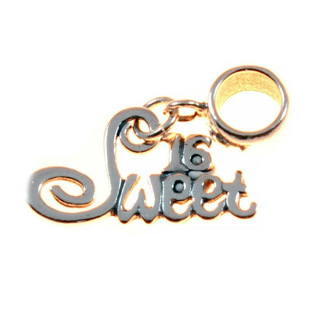 Sweet 16 Letters Sterling Silver Dangle Charm / Carrier