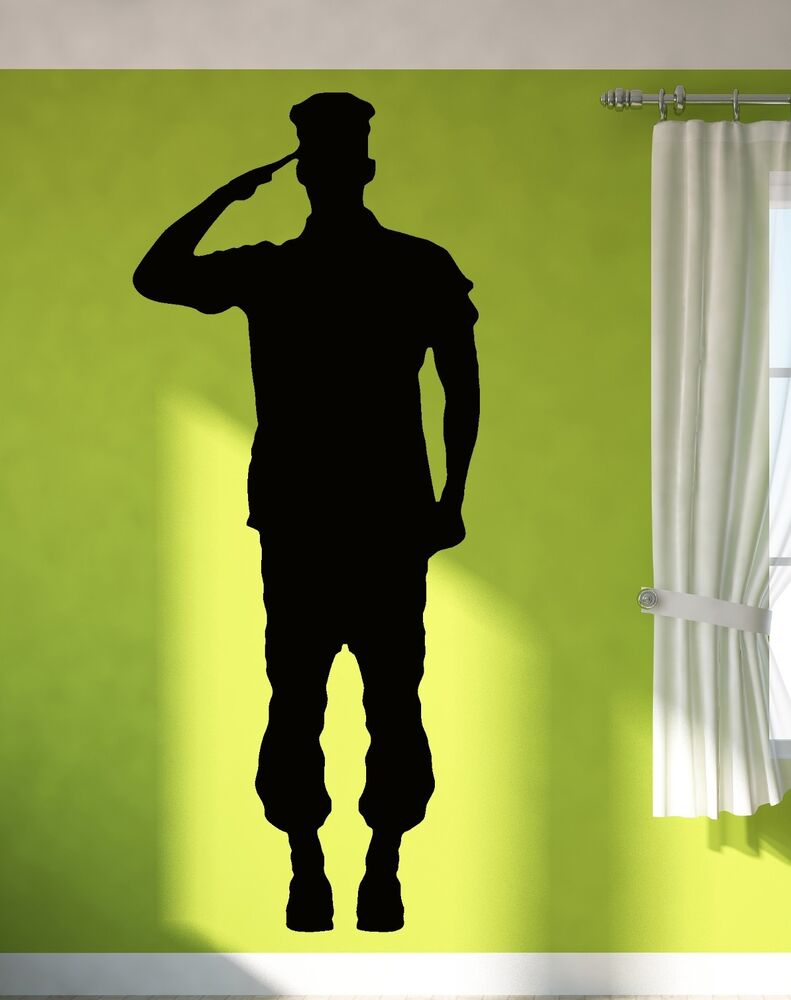 Wall Sticker Vinyl Decal Soldier Giving Salute Military Army Decor (z1019m) | eBay