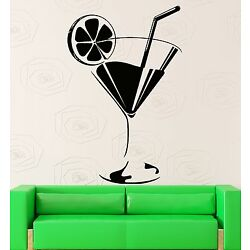 Wall Sticker Vinyl Decal Glass Of Drink Cocktail Mojito Bar Decor (z1023m)