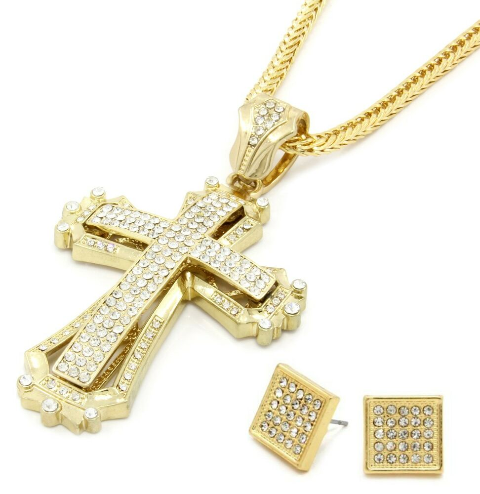 mens large hollow cross gold iced out pendant 36 inch