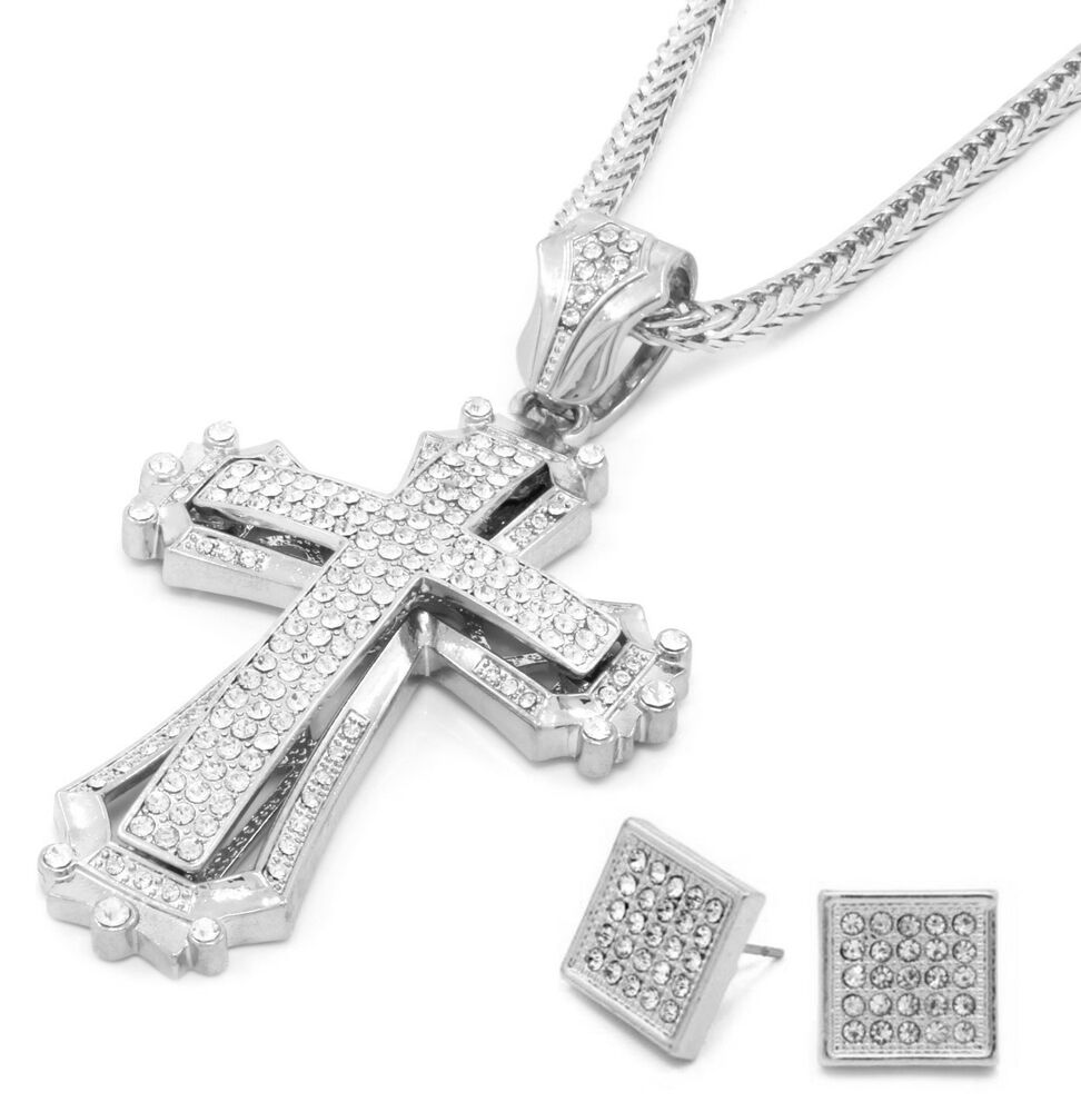 mens large hollow cross silver iced out pendant 36 inch. Black Bedroom Furniture Sets. Home Design Ideas